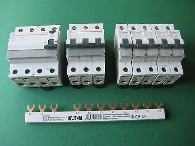5x GE AEG B16 +1x B16-3 +1x FI Schutzschalter 40/0,03/4pol + Phasenschiene SET