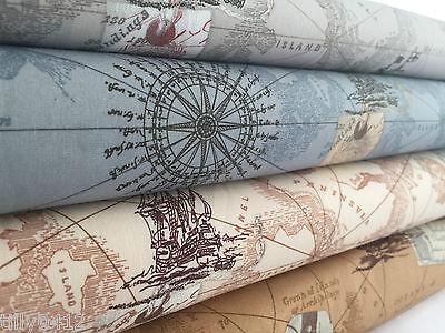 Ship Map - Antique Vintage Map print 100% cotton poplin fabric Nautical Ocean Boat Ship