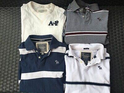 LOT OF 4 ABERCROMBIE & FITCH POLO SHIRTS LONG SLEEVE POLOS MENS MEDIUM LARGE