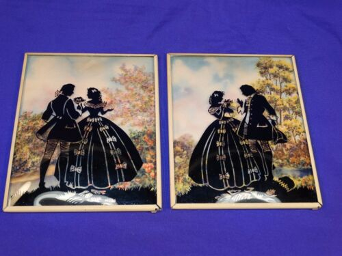 VINTAGE PAIR SILHOUETTE PICTURE FRAMES COURTING COUPLE IN THE COUNTRY 2 POSES