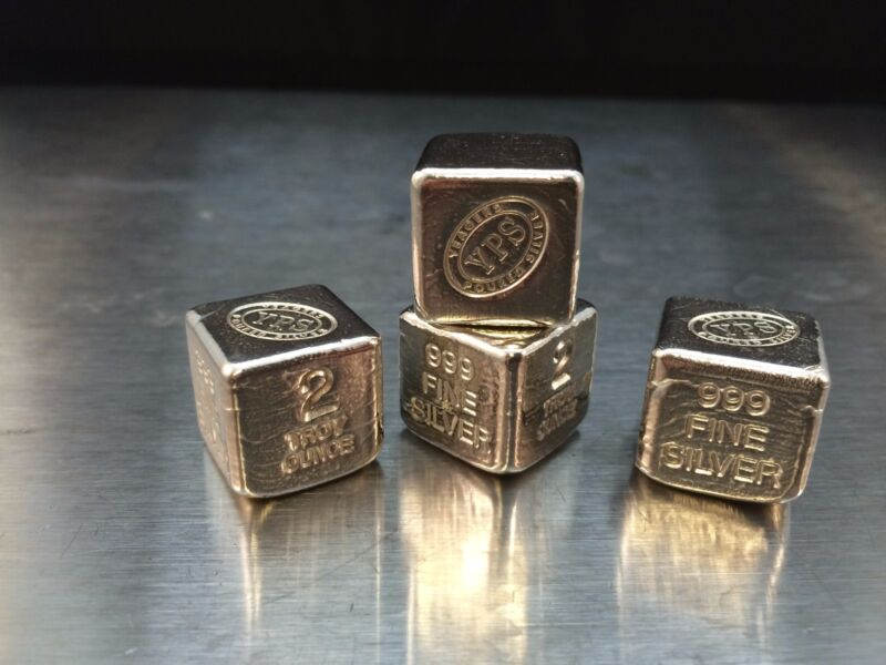 """2oz Hand Poured 999 Silver Bullion Bar """"Cube"""" by YPS - Yeager"""