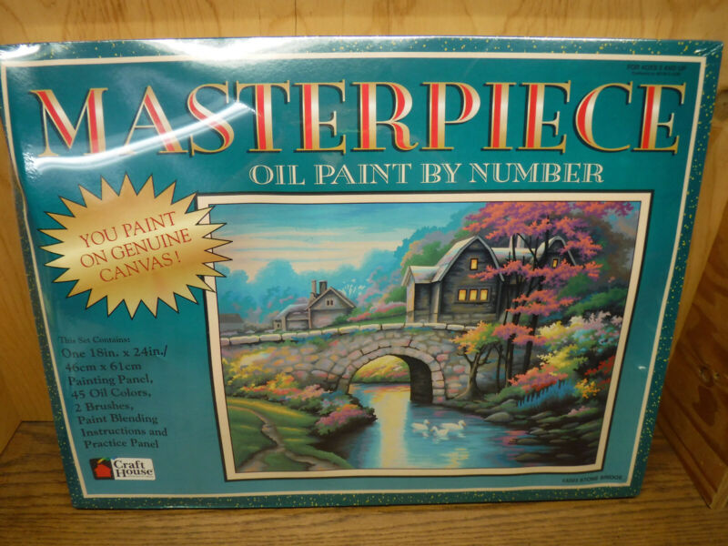 """Craft House Masterpiece Oil Paint by Number """"Stone Bridge"""" 18x24"""" w/ real canvas"""