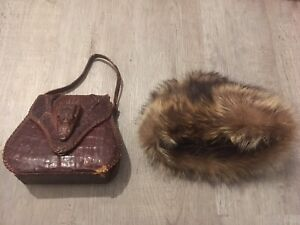 VTG 1940's-50's Alligator Purse and ladies Fur Simpson's Hat