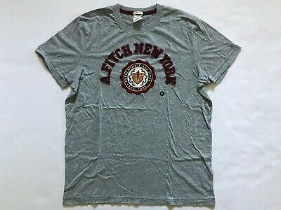 NWT Abercrombie & Fitch Men's Applique Logo Graphic T-Shirts New York Grey XXL