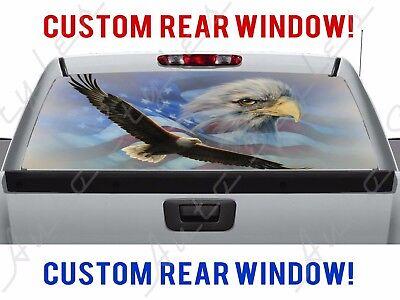 American Flag Patriotic Flying Eagle Bird Truck Perforated Vinyl Window Decal