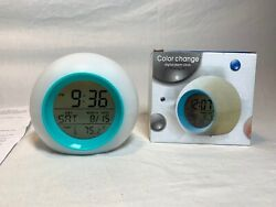 7 Color Changing Light  Alarm Clock with Date & Temp. & Plays Nature Sounds