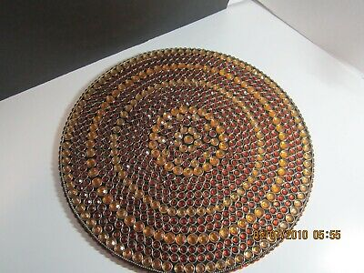 """KIM SEYBERT BEADED CHARGER/PLACEMAT GOLD AND BROWN/COPPER BEADS 15 1/2"""" NWT!"""