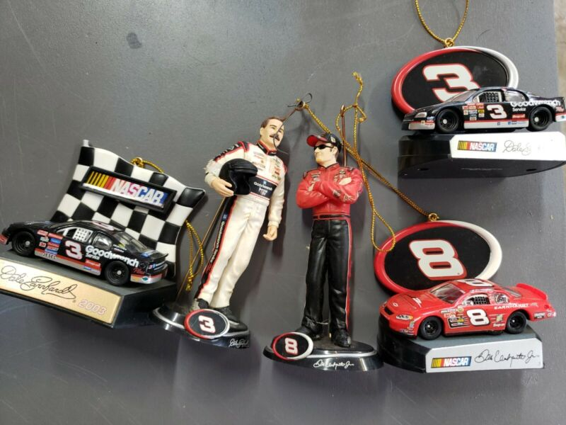 Trevco 2004 NASCAR Dale Earnhardt and Jr.  #3 and #8 Holiday Ornaments lot