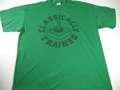 Classically Trained ATARI Gamer Vintage Joy Stick Adult Green T-Shirt Size XL