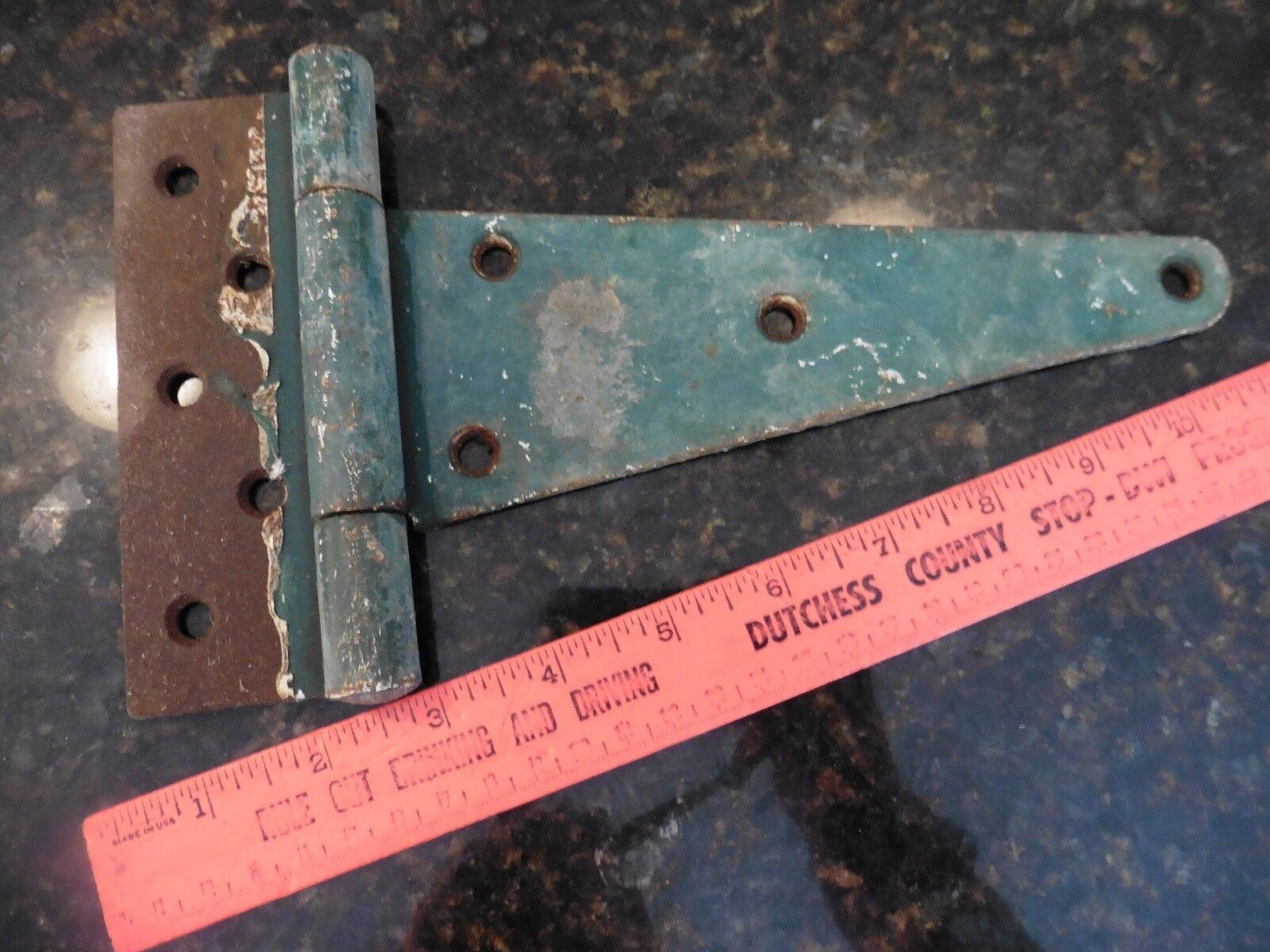 Antique Cast Iron Door Barn Hinge Hardware Old strap style painted blue patina