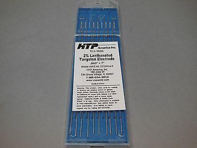 10 Htp 2 Lanthanated Tungsten Tig Electrodes .040 X 7 Blue