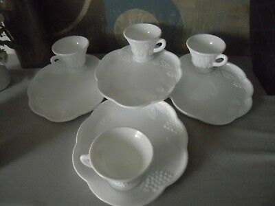 Harvest Milk Glass by Colony - Snack Plate & Snack Cup - Set of 4 - DISCONTINUED