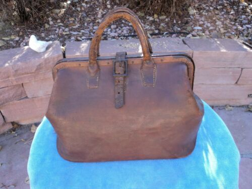 Antique Doctor/Physician Bag, United Leather Workers Union Stamped, Brn Cowhide