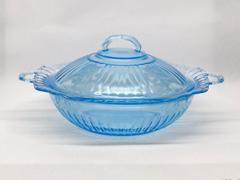"Antique Blue Mayfair Original 10"" Covered Vegetable Bowl Depression Glass, Nice!"