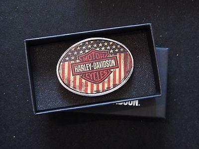 """Harley Davidson""""USA"""" American Flag / Bar & Shield Belt Buckle"""