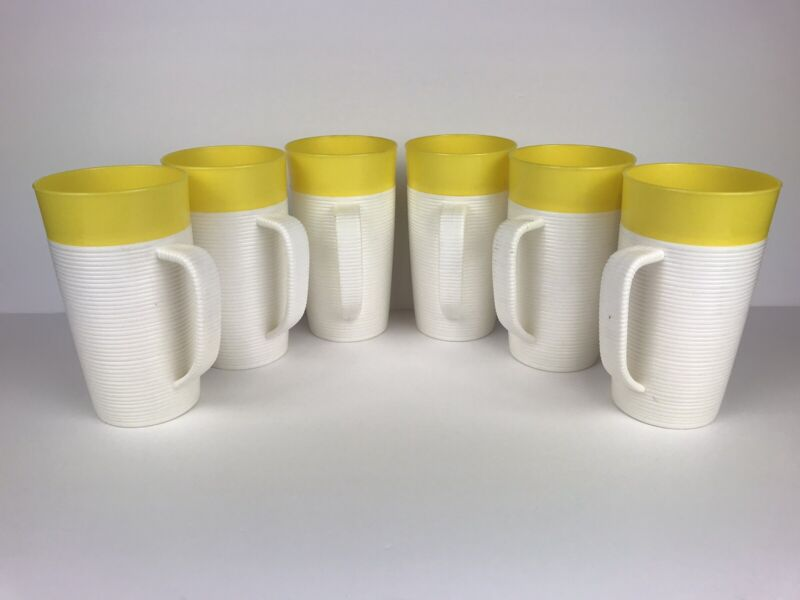 SET OF 6 Vintage Raffiaware Yellow Ribbed Tall Cups w/ Handles Thermo Temp 14oz
