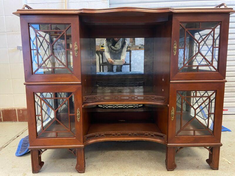 Mario Buatta for John Widdicomb glass-front console cabinet