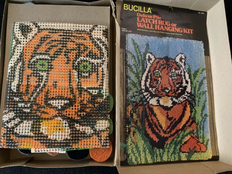 "Bucilla Rug Kit, No. 12817 Tiger, Vintage, NOS, 20"" x 27"", Made In USA"
