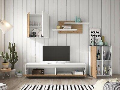 Muebles salon Legos 3 modulos 2 estanterias color blanco y naturale 180x220x38cm