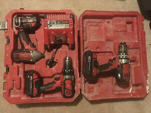 Milwaukee 2 drills, 1 impact, charger, 3 batteries