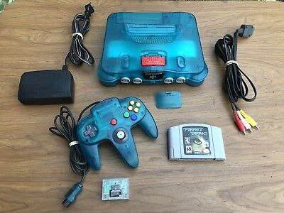 Nintendo N64 Funtastic Ice Blue Console Lot W/ Controller Expansion Game ++ Wow!