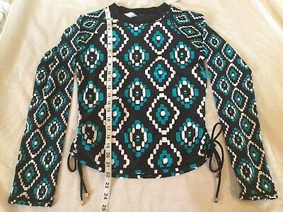 0ae1ce485c1536 NWT Jones New York M Long Sleeve Rash Guard Swim Shirt Womens Diamond Print