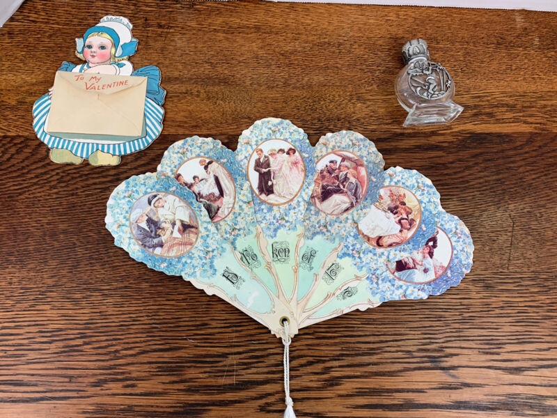 Vintage Valentine Card and Fan With A Glass Cupid Perfume Bottle