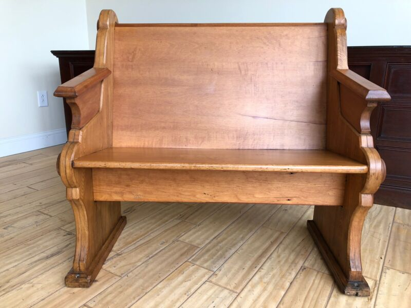 "Awesome looking 36 "" antique church pew/120 years old (1)"