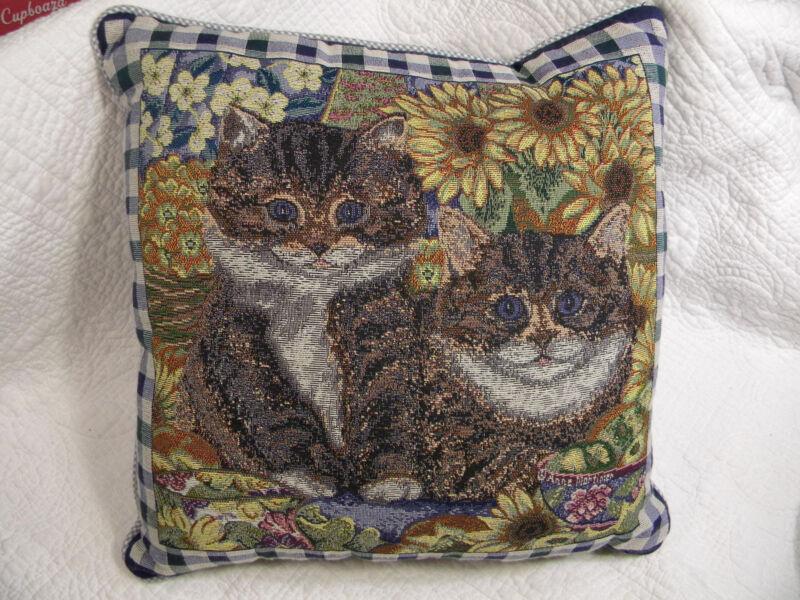 "Fashion Square Cat Feline Pillow Signed Anne Mortimer 15"" X 15"", EXCELLENT"