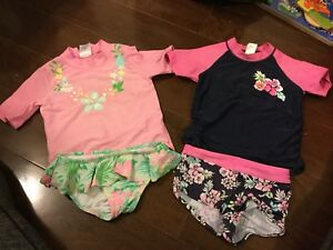 Two 2pc girl swim suits 4t