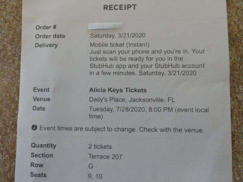 Alicia Keys, 2 good seats $250(were $290) Daily
