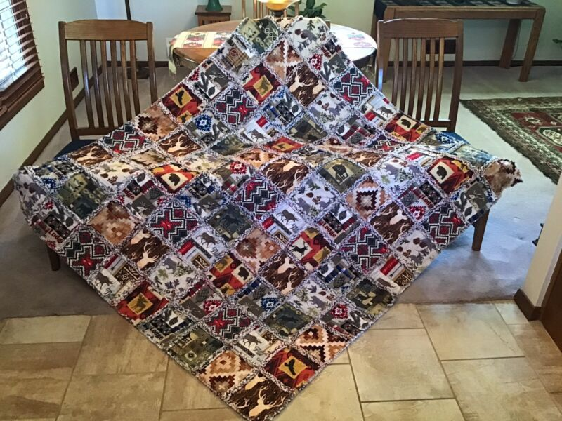 WOODSY LODGE WILDLIFE MOOSE BEAR Handmade Rag Quilt  XL throw ALL FLANNEL  61x68