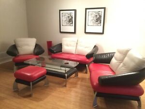 Custom 5 piece leather living room set - made in Europe