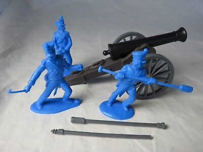 Alamo Mexican Howitzer With Three Man Crew In Blue  1 32  Classic Toy Soldiers