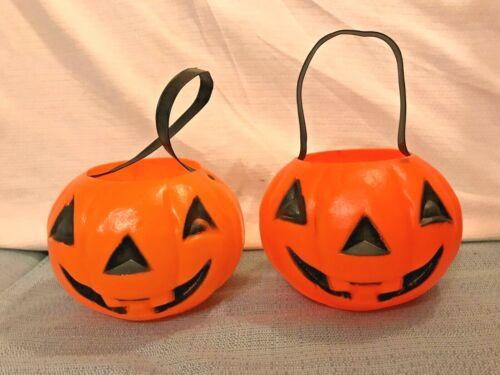"Set of 2 Vintage 1960s Pumpkins Plastic Candy Pail Bucket Handles Blow Mold 4.5"""