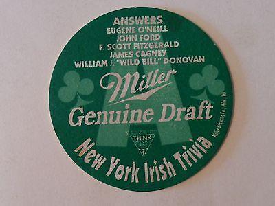 Bar Untersetzer: Miller Original Draft <> New York Irisch Trivia <>