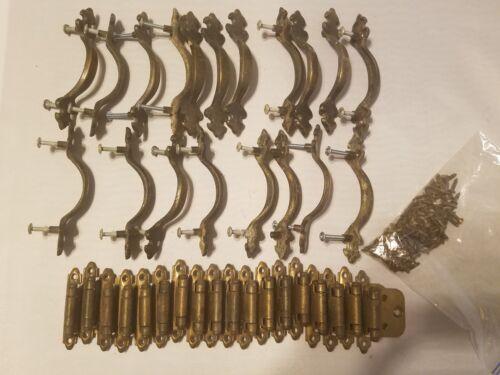 Vintage Lot of Brass 18 Cabinet Hinges & 19 Door Knobs Cabinet Pulls Handles