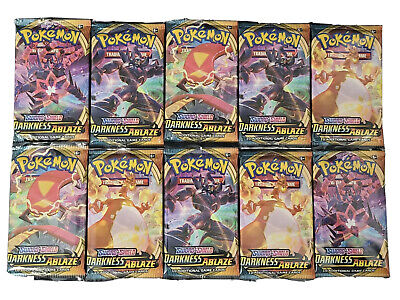 10 DARKNESS ABLAZE Booster Pack Lot :Factory Sealed From Box FREE SHIPPING