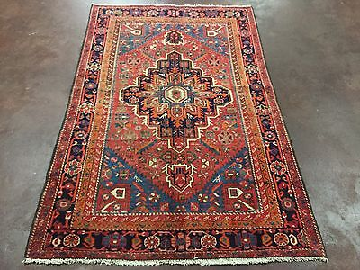 Semi Antique Hand Knotted Persian Zanjan-Hamadan Geometric Rug 4x6,4'1