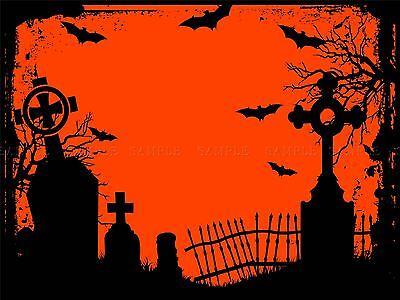 N HALLOWEEN GRAVEYARD CEMETERY SILHOUETTE ART POSTER MP3124A (Halloween Silhouetten Kunst)