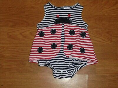 Nursery Rhyme Red, White, Blue Ladybug 4th of July romper outfit set size -
