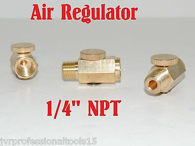 """Air Regulator Pressure Adjustable Solid Brass 1/4"""" NPT Fitting For Air Tools"""