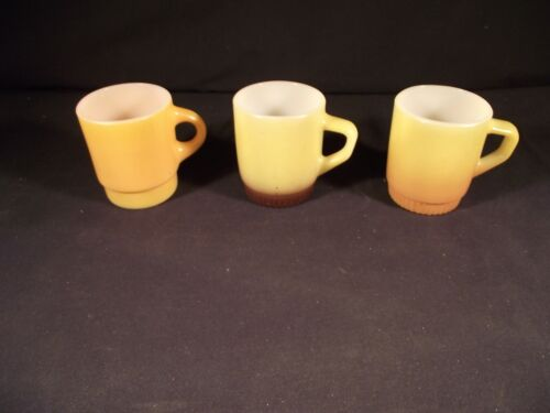 Vintage Fire King Stackable Coffee Mugs x 3. Yellow / orange