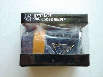 New NHL St Louis Blues Game on Glove Wrist Shot Glass and Holder - 2 Ounce Louis Blues Glass