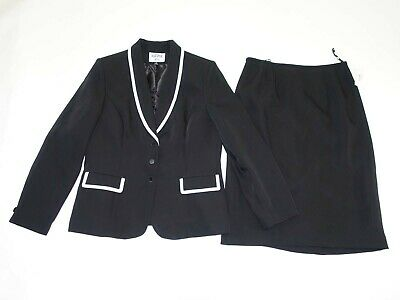 Kasper Women's Blazer Skirt Suit Size 12 NWT Black White 100% Polyester Lined