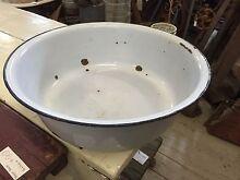 Vintage original enamel basin bowl planter 38cm D Farm Queenstown Port Adelaide Area Preview