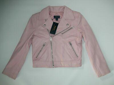 Polo Ralph Lauren Pink Leder Einlage Moto Jacke Mädchen Größe 6/6x Rt New ()