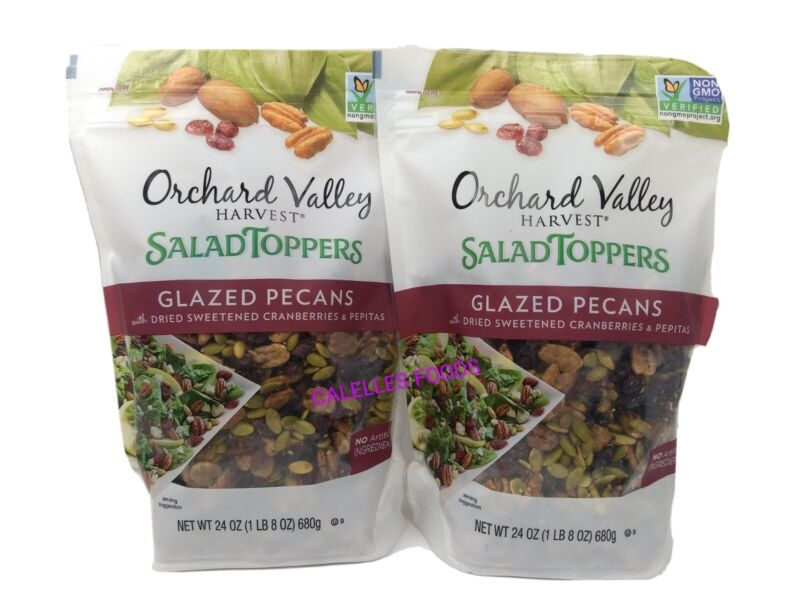 TWO Orchard Valley Harvest YOGURT/SALAD TOPPERS GLAZED PECAN 2 Zip Bags 24 Oz Ea