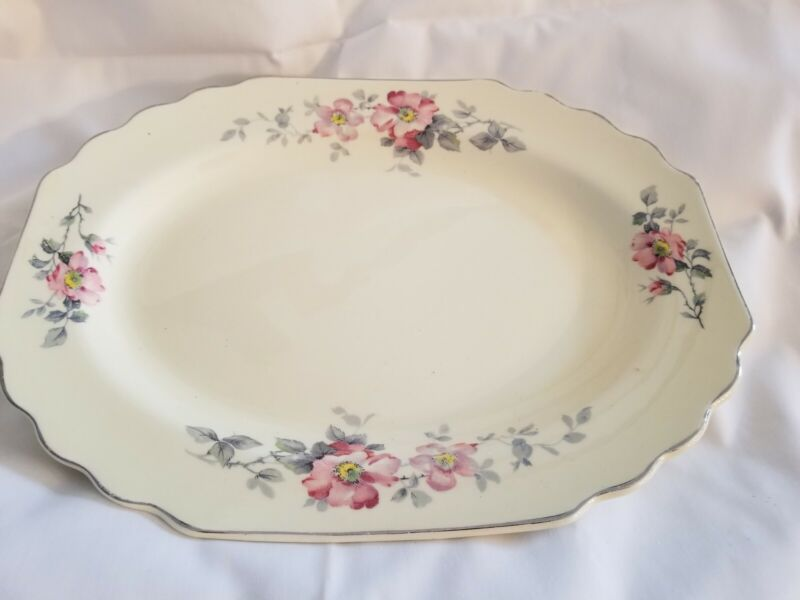 WS George Lido Canarytone Pink Flowers Gray Leaves Platter