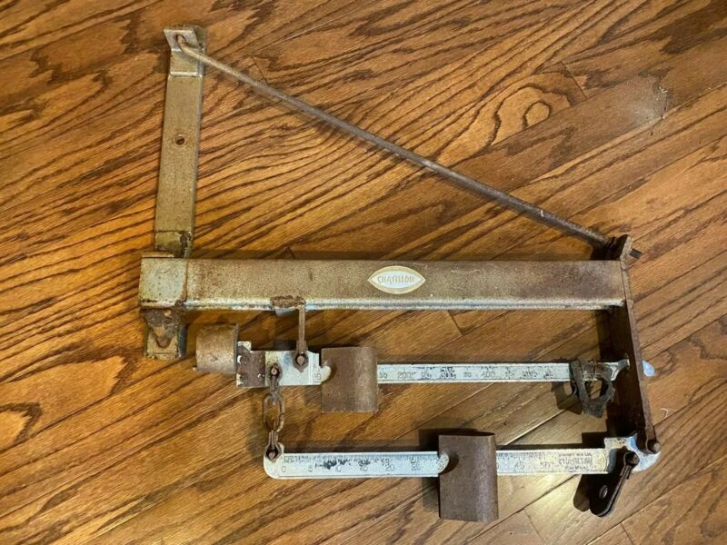 Antique Chatillon Wall Balance Scale 600 LB Capacity Industrial Cast Iron Brass